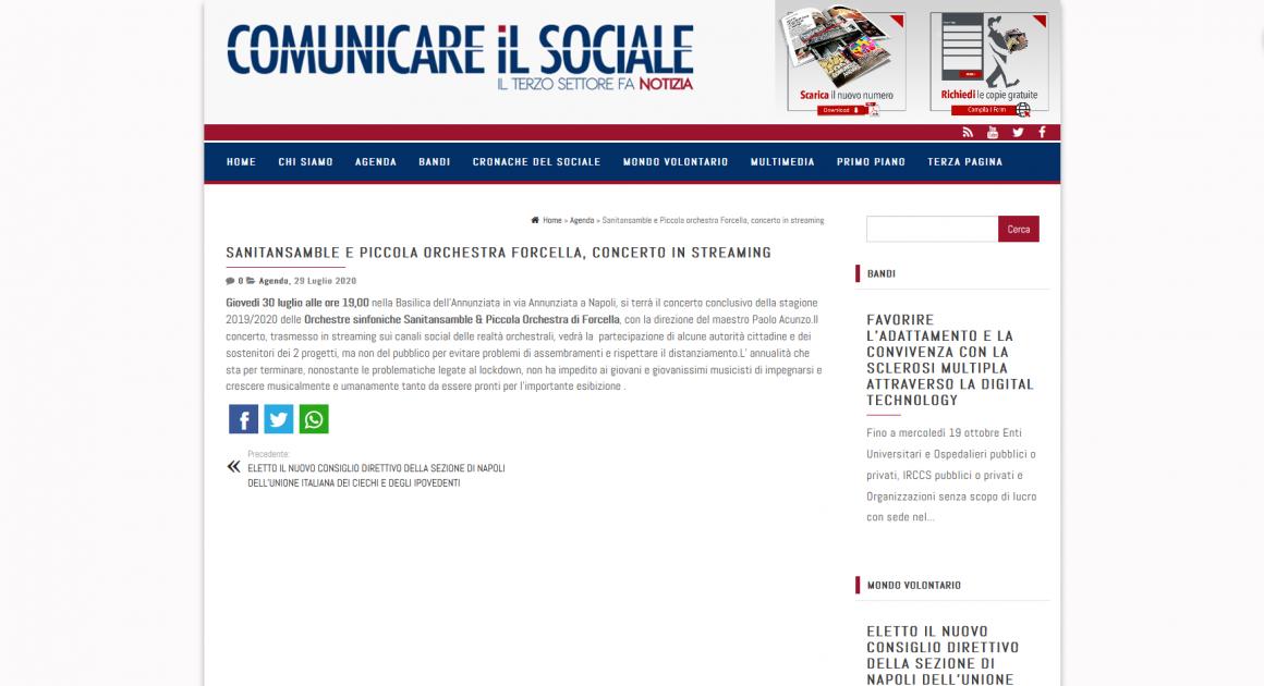 Comunicareilsociale.com: Sanitansamble e Piccola orchestra Forcella, concerto in streaming