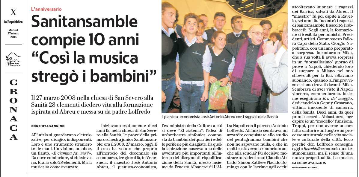 La Repubblica 27 marzo 2018