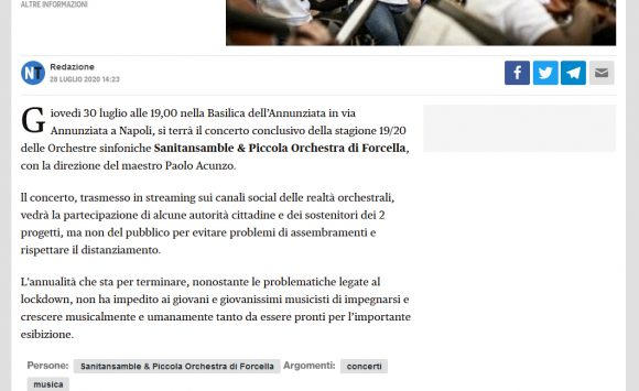 Napolitoday.it: Sanitansamble & Piccola Orchestra di Forcella, concerto in streaming